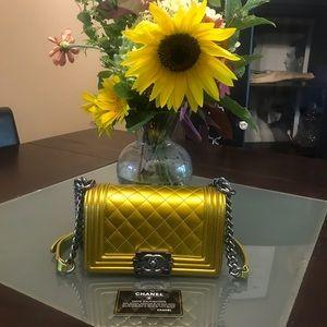 Chanel 14S Yellow Metallic Patent Leather Boy